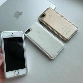 Алюминиевый бампер с кожаной крышкой на iPhone 55S. Днепр. фото 1