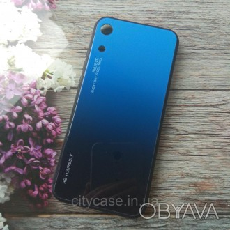 Чехол для Huawei honor 8a Gradient Glass (голубой синий)