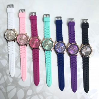 Силиконовые часы geneva белые черные мятные розовые синие фиолетовые  малиновые c8718461d2a37