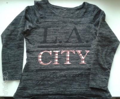 Плотная футболка с длинным рукавом L.A. city  Хлопок.. Киев. фото 1