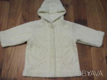 Легкая деми дубленка-пальто на девочку 9-12 мес.