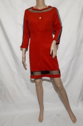 Платье женское красное нарядное королевская замша 44-46. Днепр. фото 1