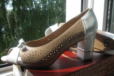 Туфли модельные, комбинированные, с открытым пальчиком. Размер 39, указан на обу. Харьков, Харьковская область. фото 9