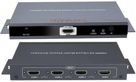 HDMI 4х1 мультивизор-коммутатор LenKeng LKV401MS. Харьков. фото 1