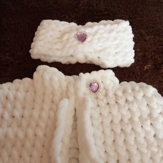 Вязаные наборчики из мягкой, плюшевой, гипоаллергенной пряжи для малышек до 1 го. Нежин, Черниговская область. фото 4