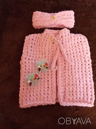 Вязаные наборчики из мягкой, плюшевой, гипоаллергенной пряжи для малышек до 1 го. Нежин, Черниговская область. фото 1