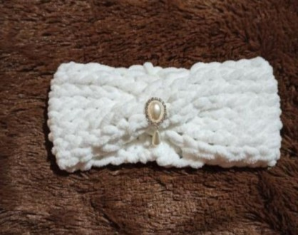 Вязаный жилет и повязочка на девочку 2-3 года. Выполнен из плюшевой гипоаллерген. Нежин, Черниговская область. фото 4