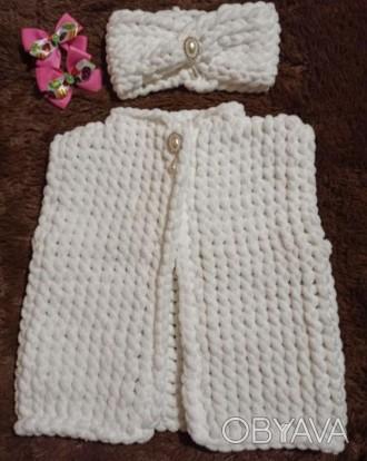 Вязаный жилет и повязочка на девочку 2-3 года. Выполнен из плюшевой гипоаллерген. Нежин, Черниговская область. фото 1