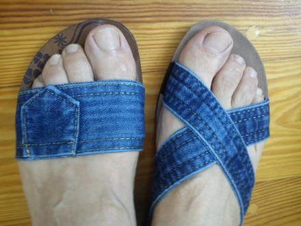 Шлепанцы джинсовые-36,37р-р, Турция.Отличные,мягкие.Стелька как замш.. Хмельницкий. фото 1
