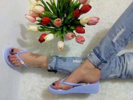 Вьетнамки на платформе, цвет голубой. Опт-Розница-Дропшиппинг. Желтые Воды. фото 1