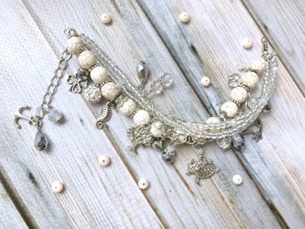 Красивый светлый летний браслет с подвесками в стиле шебби шик. Мелитополь. фото 1