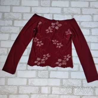 Блузка Kings land женская бордо с цветочной вышивкой