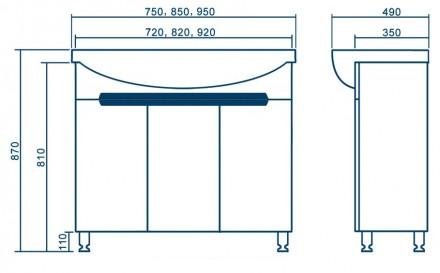 Большой выбор различной мебели в ванную комнату: тумбы, пеналы, зеркала. Лучшие . Запорожье, Запорожская область. фото 7