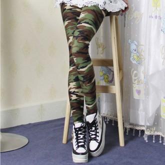 Мягкие леггинсы с принтом камуфляж. Николаев. фото 1