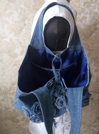 Стильная джинсовая сумка. В единственном экземпляре. Высота - 23см, ширина - 39с. Чернигов, Черниговская область. фото 3