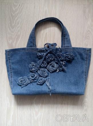 Стильная джинсовая сумка. В единственном экземпляре. Высота - 23см, ширина - 39с. Чернигов, Черниговская область. фото 1
