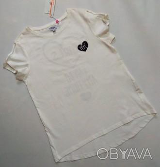 Молочная футболка с принтом OVS р. 12-13 (158)
