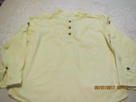 Рубашка салатовая на 8 лет, рост 128см, длина 45 см, ширина 35см, длина рукава 4. Киев, Киевская область. фото 2