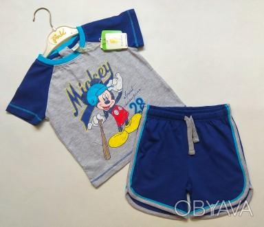 Серо-синий комплект с Микки Disney р. 12-18 мес (80)