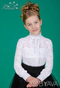 Белые, нарядные блузы на девочек ростом от 122 до 152см. Красивые блузы с длинны. Северодонецк, Луганская область. фото 5