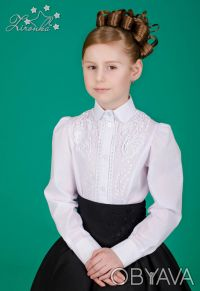 Белые, нарядные блузы на девочек ростом от 122 до 152см. Красивые блузы с длинны. Северодонецк, Луганская область. фото 4