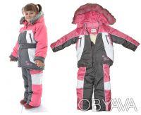 Комплект для девочек состоит из куртки с капюшоном и брюк с лямками.  Теплая ку. Днепр, Днепропетровская область. фото 3