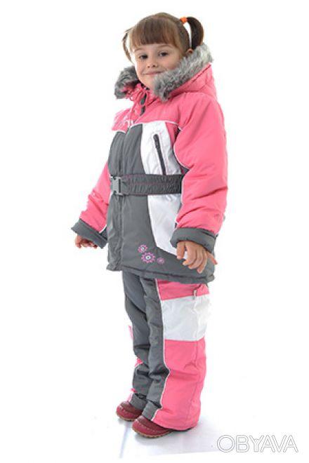 Комплект для девочек состоит из куртки с капюшоном и брюк с лямками.  Теплая ку. Днепр, Днепропетровская область. фото 1