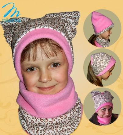 Новинка! Детский комплект шапка,шарф, повязка 3в1 флис ОГ(52-55)осень/зима/весна. Киев. фото 1