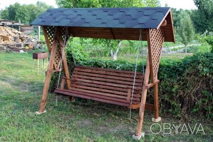 садова гойдалка із дерева від виробника висота - 2.10 ширина 2.60 розмір лавки 1. Мироновка, Киевская область. фото 1
