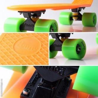 Скейт Пенни Борд Print, Penny Board Original 22 Оранжевый зеленые колеса. Киев. фото 1