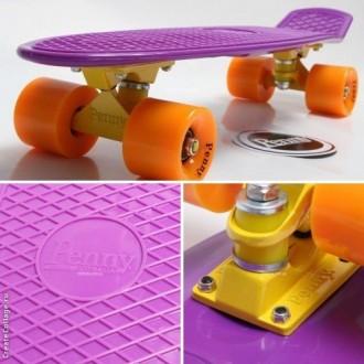 Penny Board Original 22 Фиолетовая Дека Оранжевые Колеса с гравировкой. Киев. фото 1
