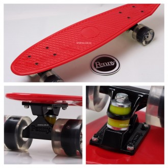 Penny Board Original 22 красная дека и светящиеся колеса видео обзор. Киев. фото 1