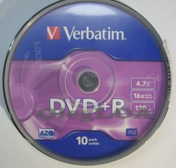 Диски DVD+R Verbatim 16x 4,7Gb cake - 10шт. Черновцы. фото 1