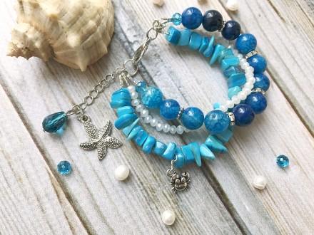 Яркий синий голубой летний красивый браслет с натуральным камнем. Мелитополь. фото 1