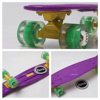 Penny Board Original 22 фиолетовая дека и светящиеся колеса видео обзор. Киев. фото 1