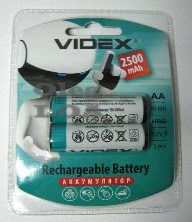 Аккумулятор пальчик Videx R6 AA 2500 mAh 2шт. Черновцы. фото 1