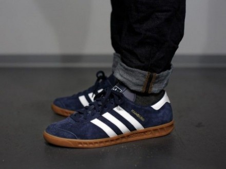 Мужские кроссовки Adidas Originals Hamburg Dark Blue. Буча. фото 1