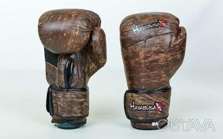 Перчатки боксерские кожаные на липучке. Цвет: коричневый Размер: 10 и 12 oz. Одесса, Одесская область. фото 1