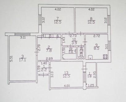 4 комнатная квартира в центре города 3/9, 83м2. Чернигов. фото 1