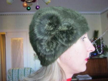 Шапка женская, ангоровая, тёмно-зелёного цвета.. Николаев. фото 1