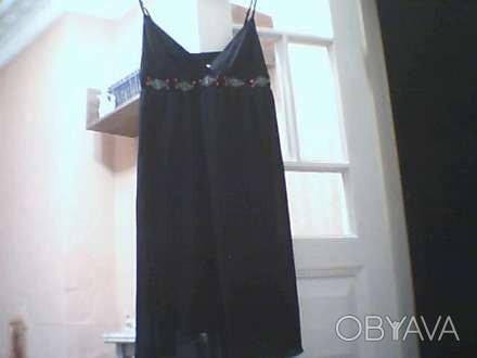 Чёрное открытое вечернее платье KIТ, на тонких регулирующихся бретелях, с вышивк. Николаев, Николаевская область. фото 1