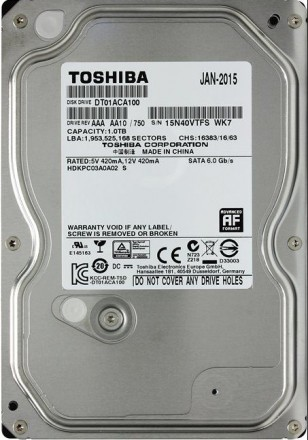 "HDD Tоshiba 1Tb (1000Gb) 3,5"" з гарантією /с гарантией. Кропивницкий. фото 1"