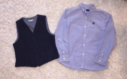 Школьный комплект рубашка Next + жилетка John Lewis на 9-10 лет рост 134-140см.. Ужгород. фото 1