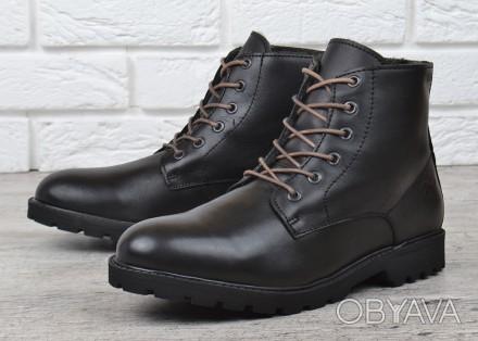 Мужские ботинки кожаные зимние черные завышенные Mustang Португалия d7e343761b8