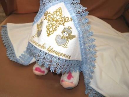 Крестильная крыжма с вышивкой для ребенка. Александрия. фото 1