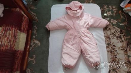 Розовый комбинезон, состав 80% пух, 20 % перо, очень тёплый и лёгкий, длинна от . Киев, Киевская область. фото 1