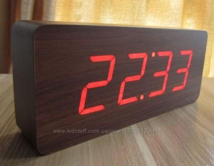 Часы электронные настольные под дерево (красная подсветка)   Часы электронные. Киев. фото 1