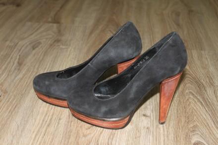 Черные замшевые туфли Prego.. Киев. фото 1