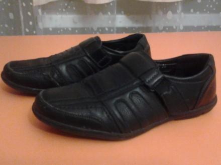 Кожаные туфли на липучках для мальчиков. Мариуполь. фото 1