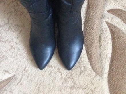 Чёрные кожаные демисезонные сапоги, были надеты один раз, не подошли по размеру.. Николаев, Николаевская область. фото 4